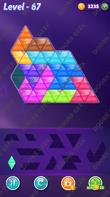 Block! Triangle Puzzle Master Level 67 Solution, Cheats, Walkthrough for Android, iPhone, iPad and iPod