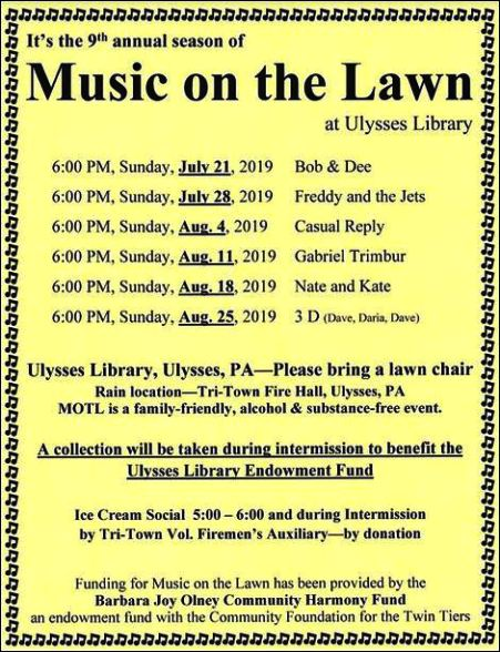 7-21 Music on the Lawn, Ulysses, PA