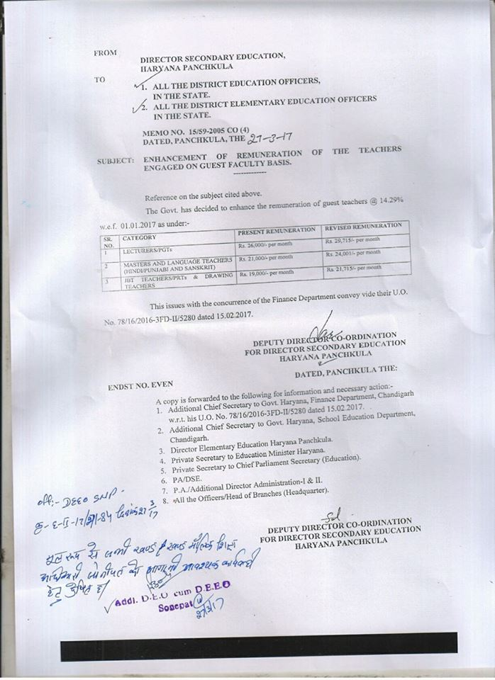 Anilratia: Guest Teachers Remunration Increase Letter By Dse