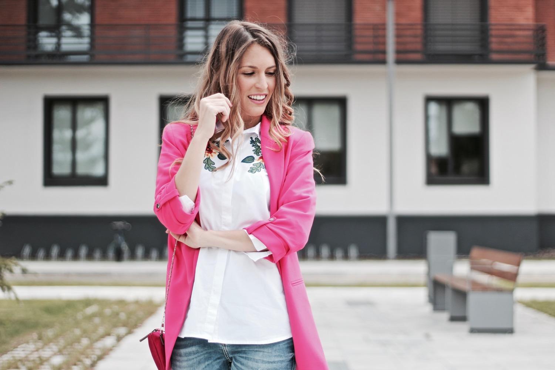 chaqueta rosa zara