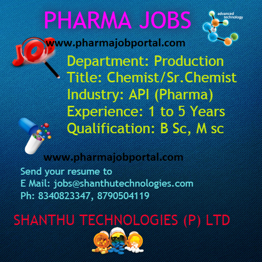 Shanthu Technologies Walk In Interview For B.Sc, M.Sc - Production Department