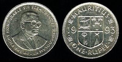Mauritius km55 1 Rupee (1987-1993) 1991 Coin