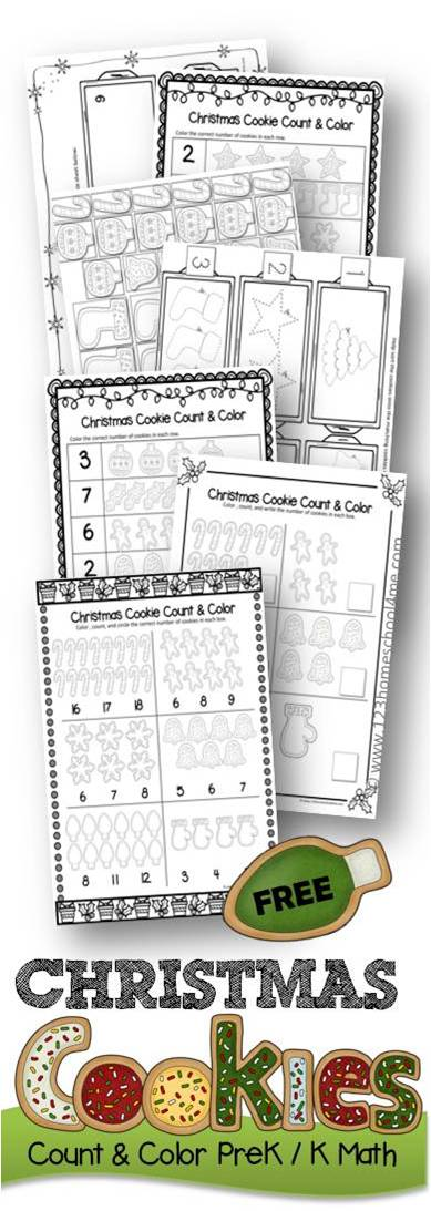 Christmas Cookie Count And Color Prek Kindergarten Math Worksheets