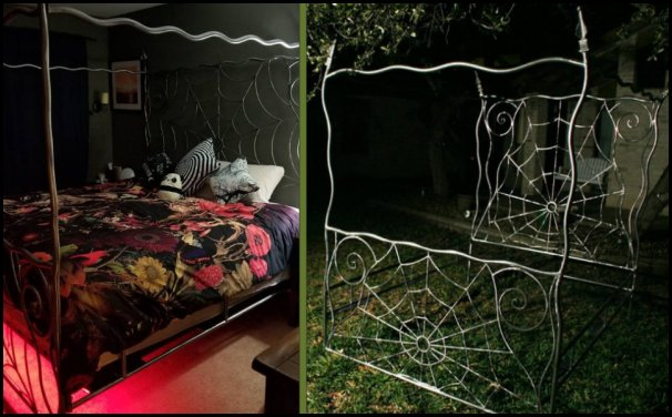 wrought iron bed, Gothic , spiderweb  Nightmare Before Christmas theme bedroom decorating ideas - jack skellington decor - Nightmare Before Christmas Bedroom Decor -  Jack skellington Sally the nightmare before Christmas - Nightmare Before Christmas  bedding - Halloween - Tim Burton - Sally Nightmare Before Christmas bedroom