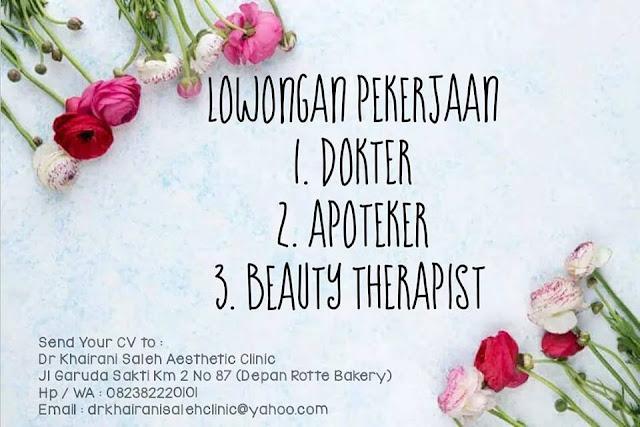 Lowongan Apoteker Klinik Kecantikan Pekanbaru Desember 2018