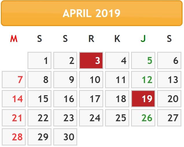 Tanggal Merah Di Bulan April 2019