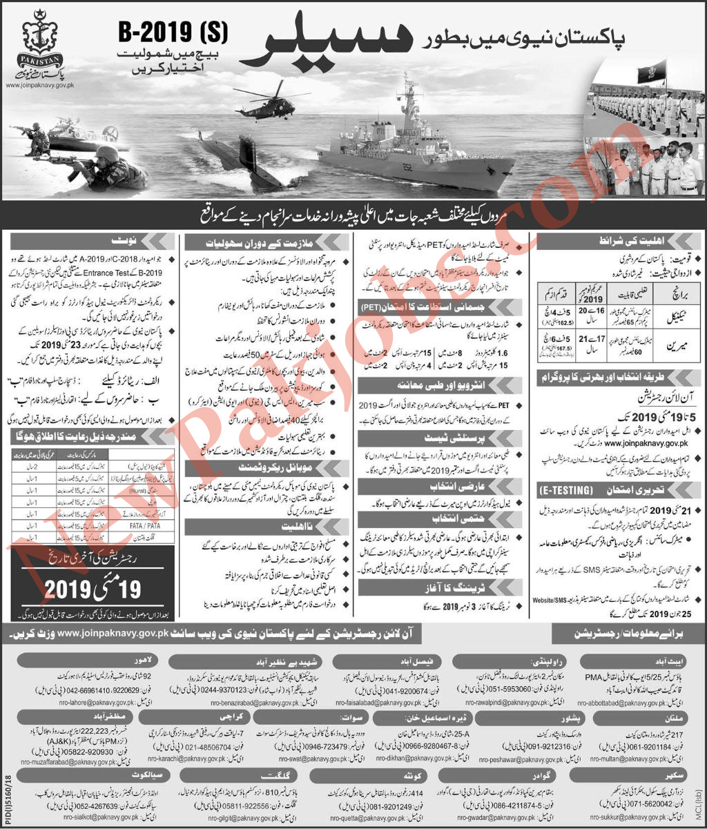 Pak Navy as Sailor Batch B-2019 for Matic Pass Jobs