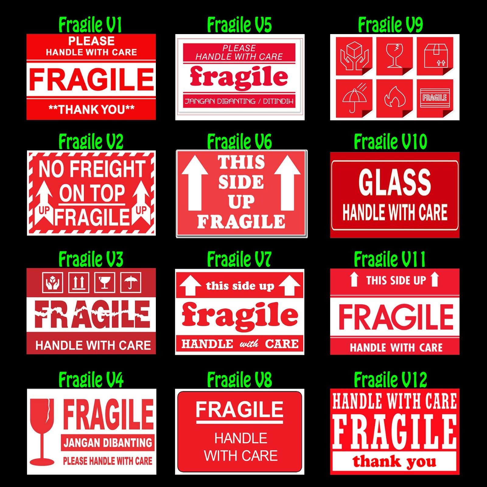 design sticker fragile, desain stiker pecah belah berkualitas