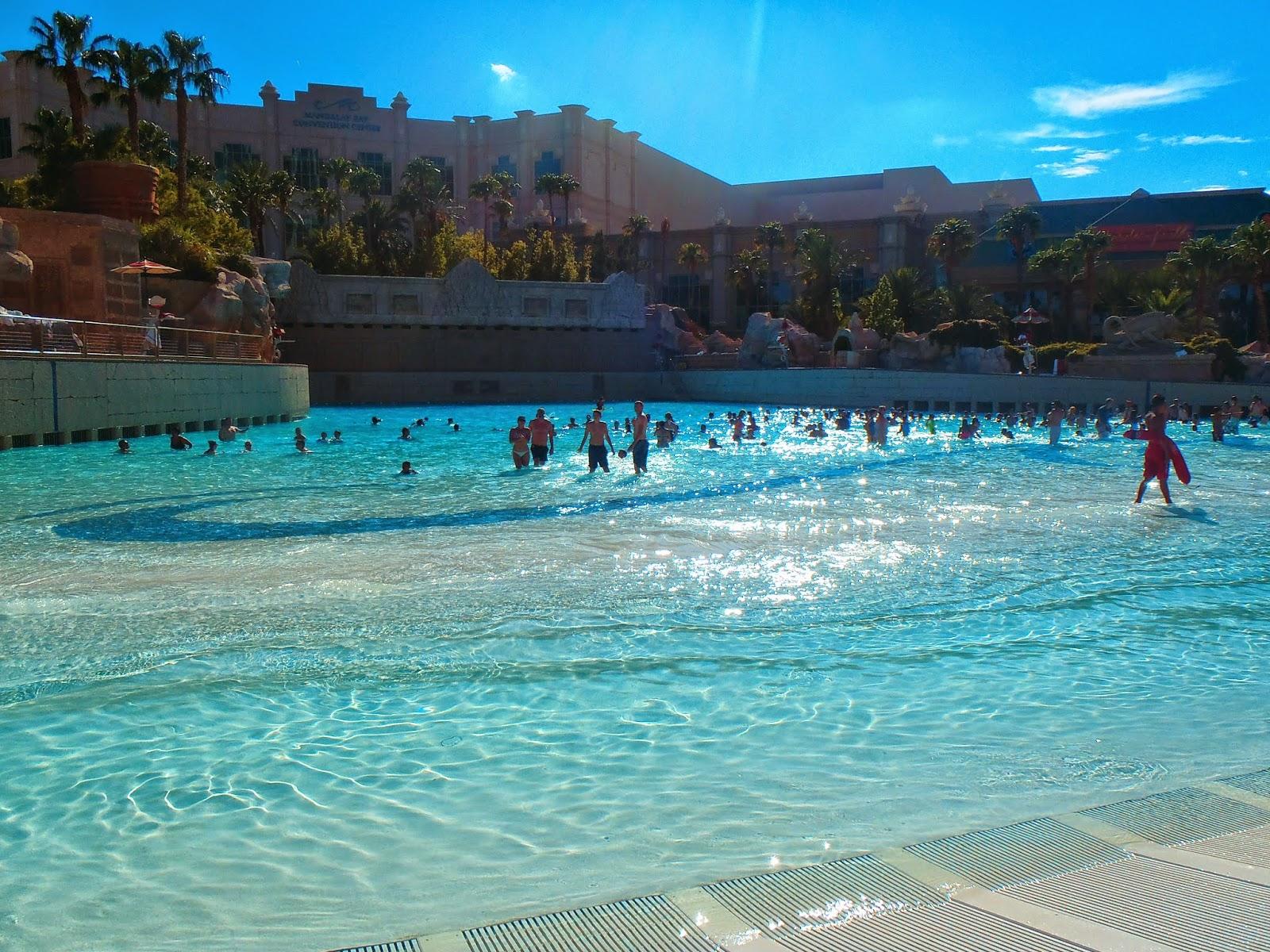 big swimming pool at he Mandalay bay hotel in vegas