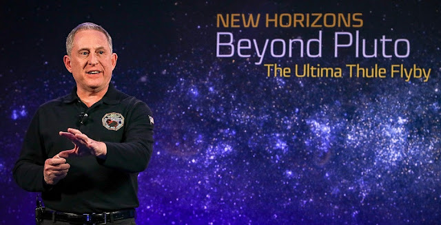 Principal Investigator Alan Stern, of the Southwest Research Institute, describes the New Horizons extended mission during the program celebrating the Ultima Thule flyby at the Johns Hopkins Applied Physics Laboratory in Laurel, Maryland, on Dec. 31, 2018.   Credit: NASA/Johns Hopkins University Applied Physics Laboratory/Southwest Research Institute