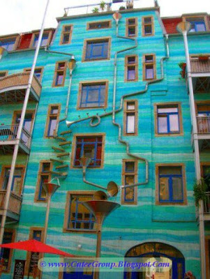 A Building that plays music in Rain at Dresden , Germany