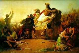 Atahualpa cae de su litera y es capturado por los españoles.