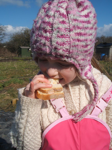 eating an allotment picnic of doorstop sandwiches