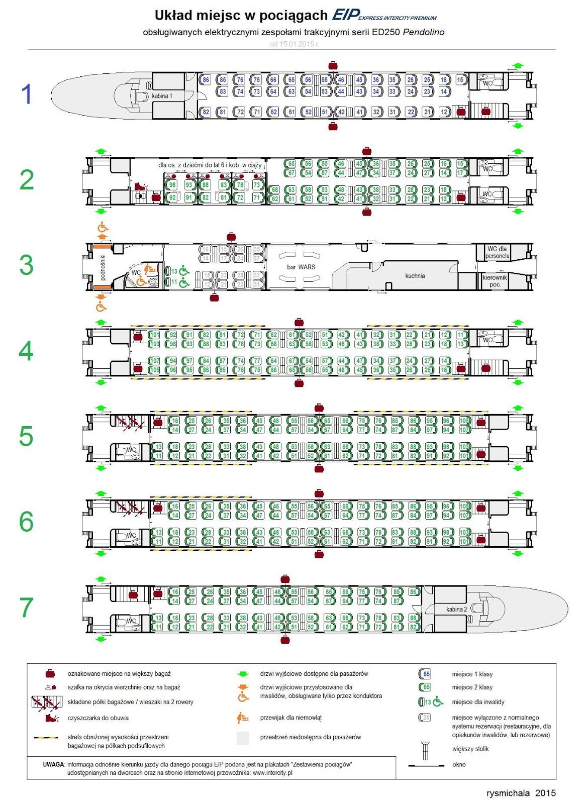 układ miejsc w pociągach Pendolino ED250 - schemat