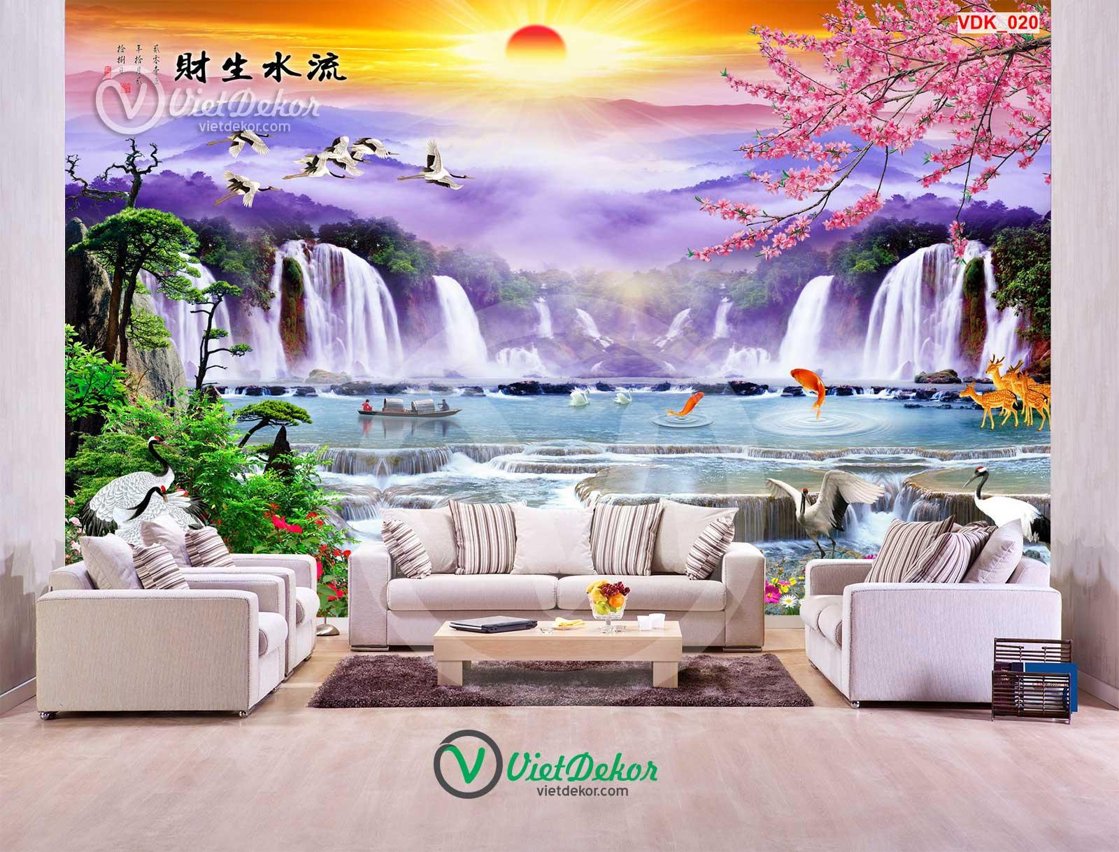 Tranh dán tường 3d thác nước cây tùng chim hạc