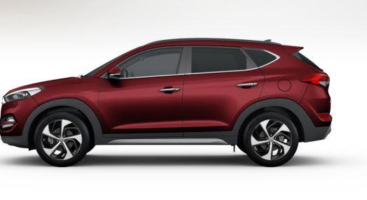 colori Nuova Hyundai Tucson 2016 Rosso Rubino - Ruby Wine profilo laterale di lato