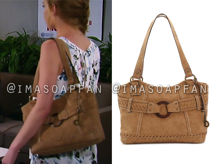 Nelle Hayes, Chloe Lanier, Brown Whipstitch Shoulder Bag, General Hospital, GH