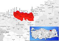 Trabzon ili ve ilçeleriyle birlikte çevre il ve ilçeleri de gösteren harita.