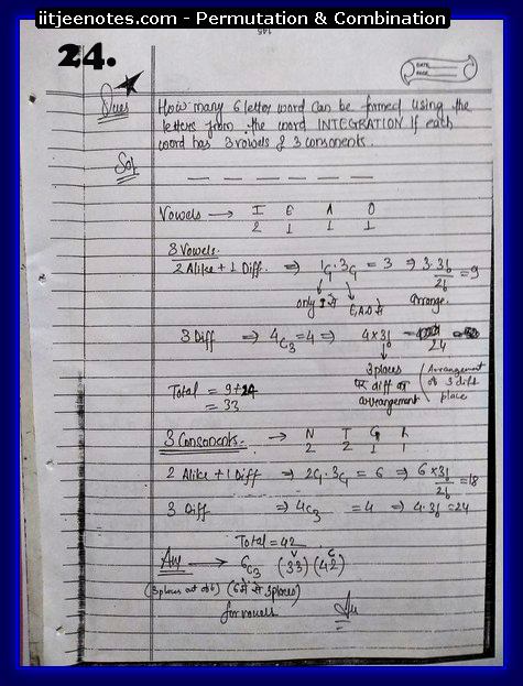 IITJEE  Competition Notes on Permutation & Combination3
