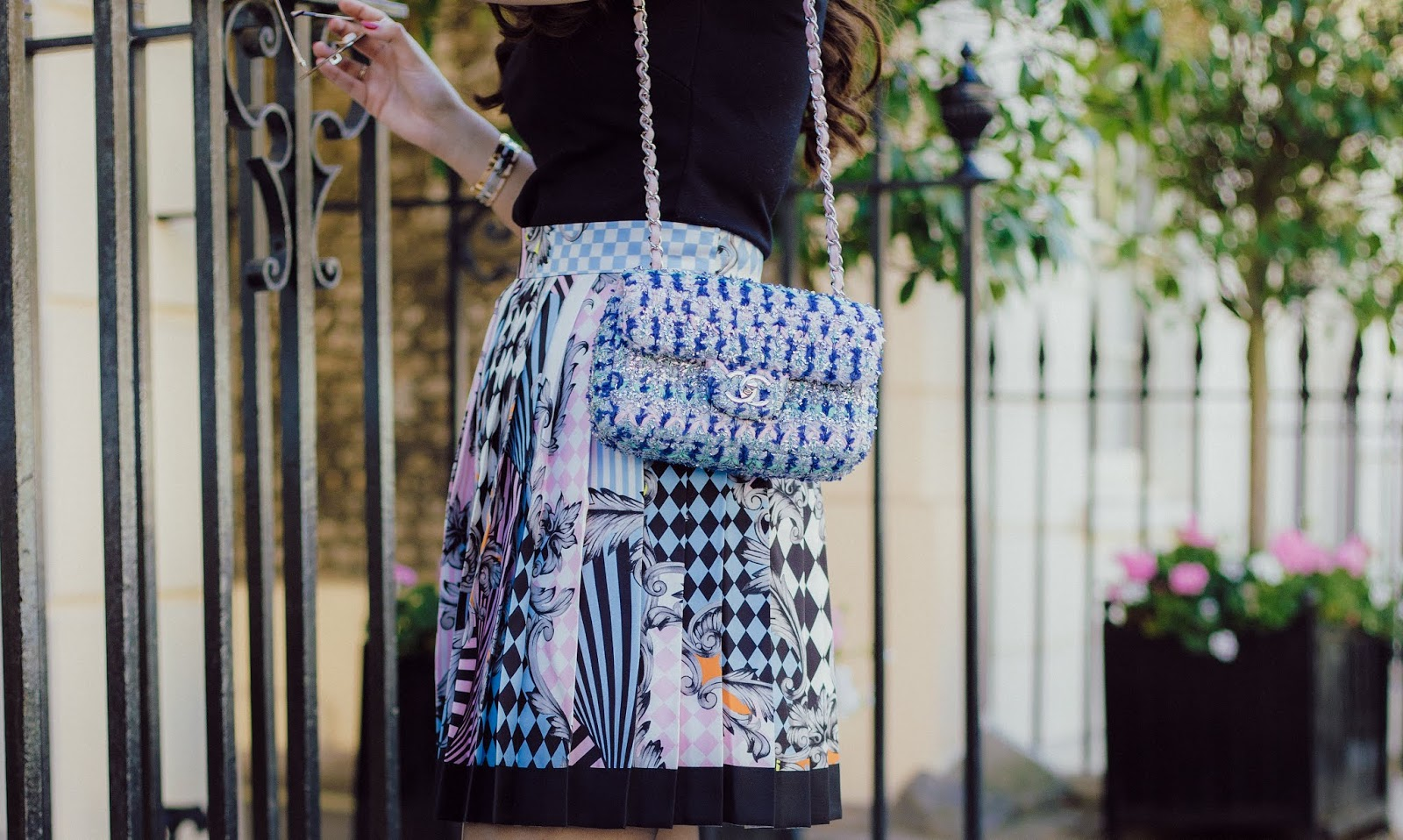86c81840a6d0e Versace Skirt and A Tweed Bag