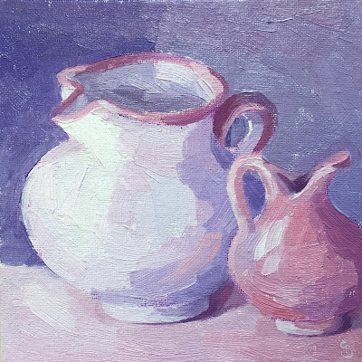 #54 'Two Pink Jugs' 6×6″