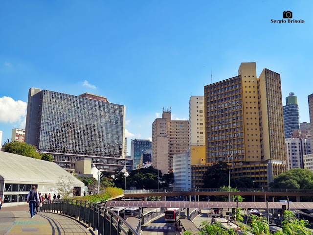Panorâmica com o Palácio Anchieta e Edifício Joelma - Praça da Bandeira - São Paulo