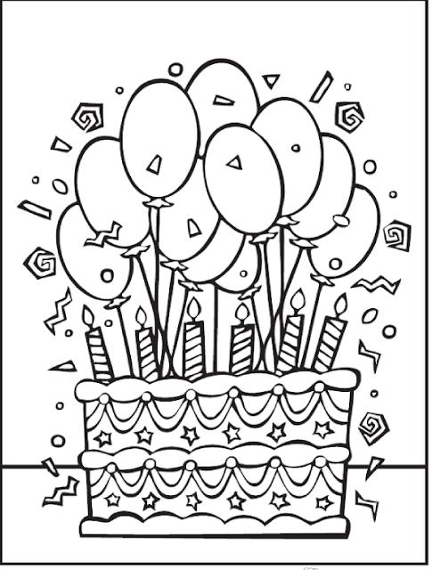 Galeri Gambar Mewarnai Kue Ulang Tahun Anak TK PAUD SD