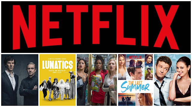 collage - Netflix logo on top. Posters on the bottom - Sherlock, lunatics, someone great, the last summer, friends with benefits