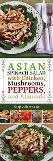 Asian Spinach Salad with Chicken, Mushrooms, Peppers, and Almonds found on KalynsKitchen.com