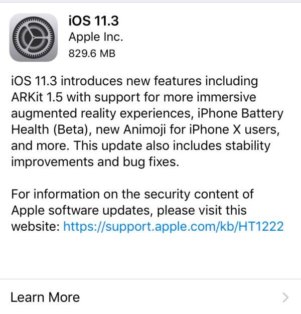 iOS 11.3 Software Update