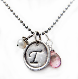 ONE Small Organic Initial Fine Silver Charm Necklace. Something About Silver.
