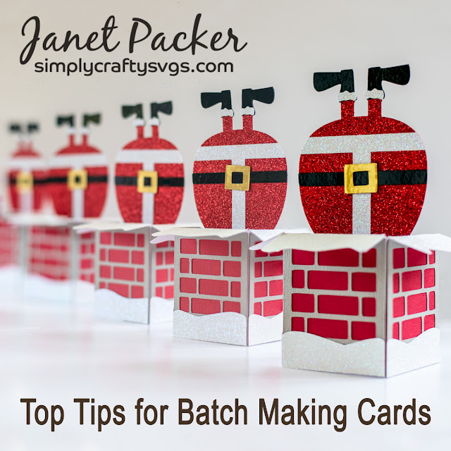 Santa Delivers Box Card by Janet Packer Craftingquine.blogspot.co.uk Includes tips on matchmaking cards. SVG Design by Simply Craft SVGs.
