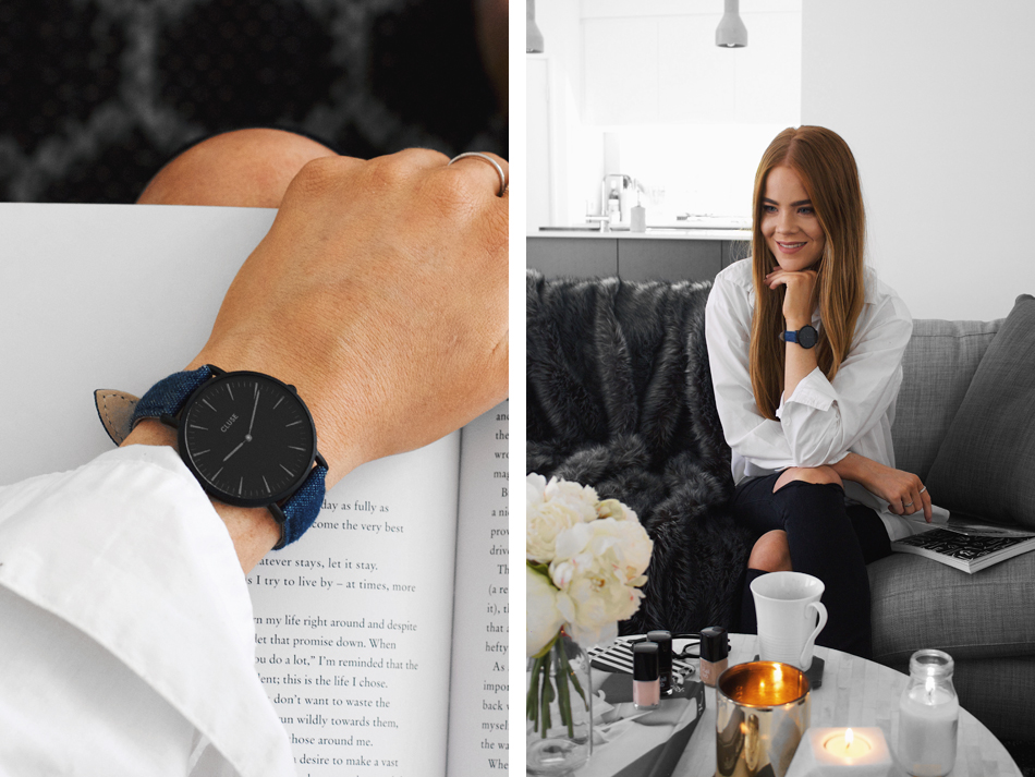 Cluse Minuit watch in Black/Blue, lounge room interior design, daring and disruptive