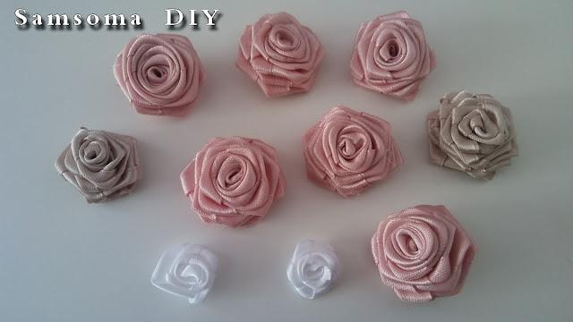عمل ورود ساتان . طريقة عمل ورد من شريط الساتان   .  DIY ribbon rose tutorial . DIY satin ribbon rose .  Diy ribbon rose . طريقة عمل ورد من الساتان  .  . طريقة عمل ورود من الساتان //  DIY : How to make flowers from Satin Ribbon