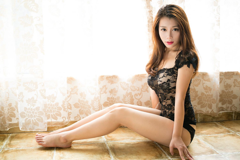Sensuality Young Asian Girl Jia Baobier 嘉宝贝儿 Black Transparent Lingerie Clean Nipples