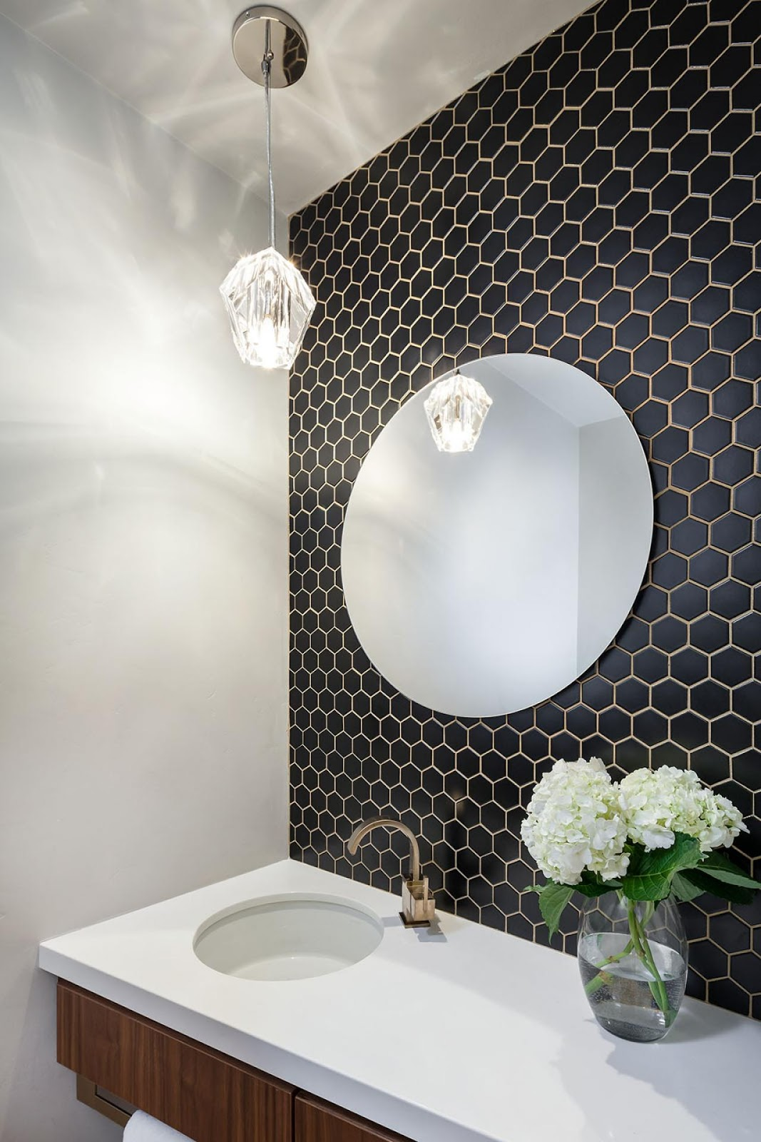 Powder Room with Hexagon Tile Wall
