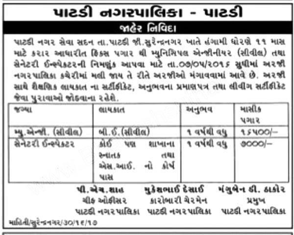 Patdi Nagarpalika Municipal Engineer and Sanitary Inspector Job 2016