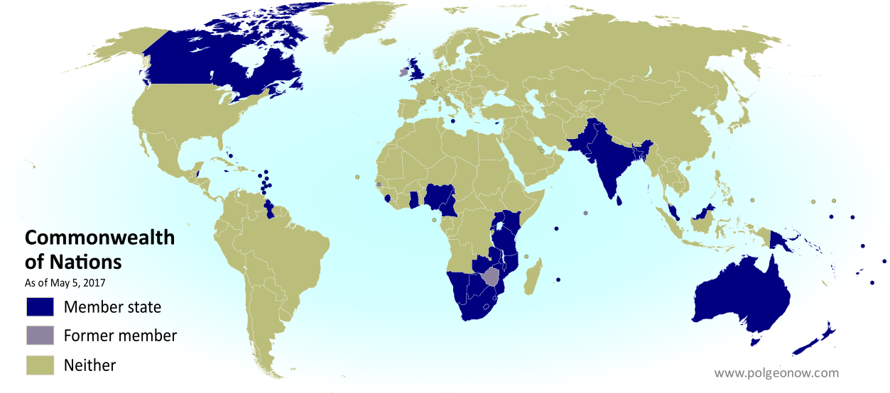 The Commonwealth: Who belongs to it? Map of current and former member countries of the Commonwealth of Nations (British Commonwealth) as of May 2017 (colorblind accessible).
