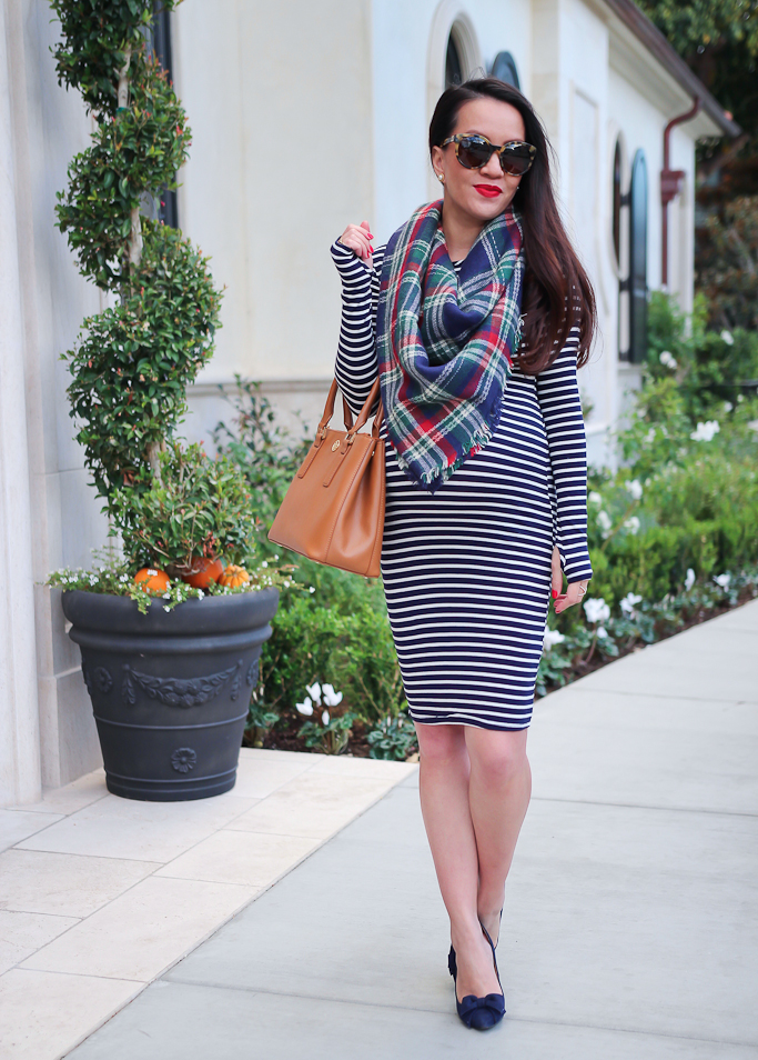 Halogen navy bow pumps, How to find the right sunglasses, Maternity outfits for petites, Socialite Stripe Long Sleeve Body-Con Dress, Tory Burch 54mm cat eye polarized sunglasses Sole Society plaid blanket scarf