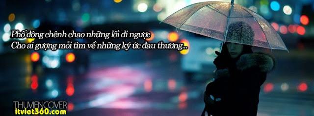 Ảnh bìa cho Facebook mưa | Cover FB timeline rain, Phố đông chênh chao những lối đi ngược