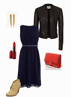 Vestido azul escuro com cinto prateado, botins bege, blusão cabedal preto, mala tiracolo vermelha