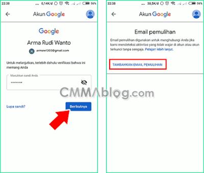 contoh membuat email pemulihan lewat hp android
