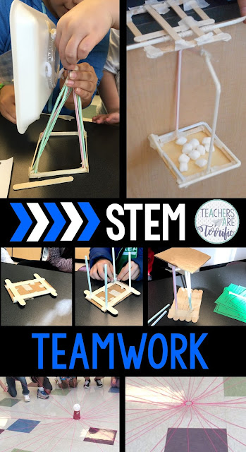 STEM Challenges and Teamwork! This is truly the most exciting part of STEM events! How will students work together? This post gives you tips and ideas for making these events come alive with the way your students encourage one another and collaborate to complete their STEM structures. From two-team challenges to ways of dividing students into groups to ideas for team building activities, this is a post that will get you started! #teamwork #STEM