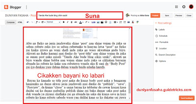 Yadda ake sa rubutu (post) a Blogger