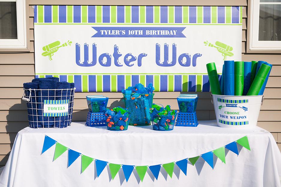 The Homespun Hostess WATER WAR - Celebrating Tyler\u0027s 10th Birthday - blue and green birthday party