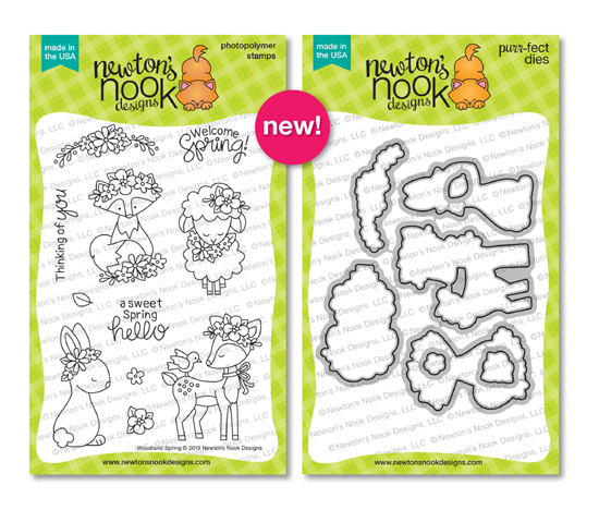 Woodland Spring | Spring Animals and Flowers Stamp Set by Newton's Nook Designs #newtonsnook