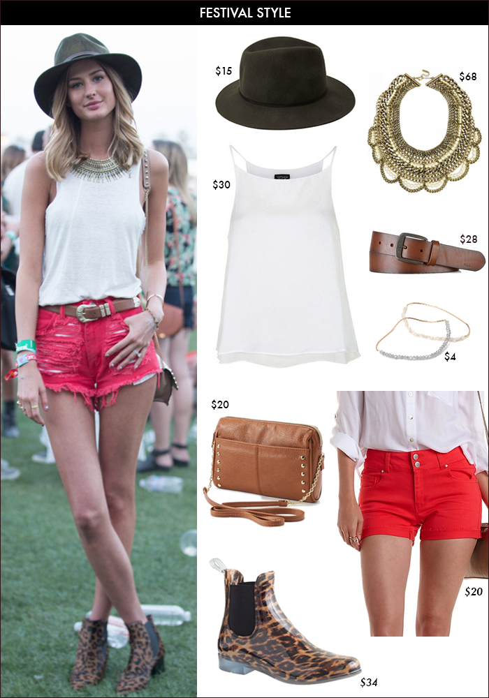 festival style, leopard booties, red shorts, what to wear summer, how to wear fedora