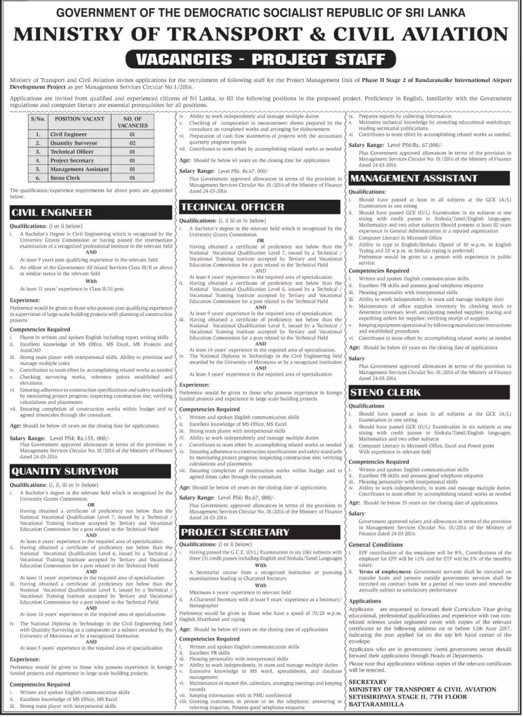 Project vacancies at Ministry of Transport & Civil Aviation