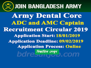 Army Dental Core Captain Recruitment Circular 2019