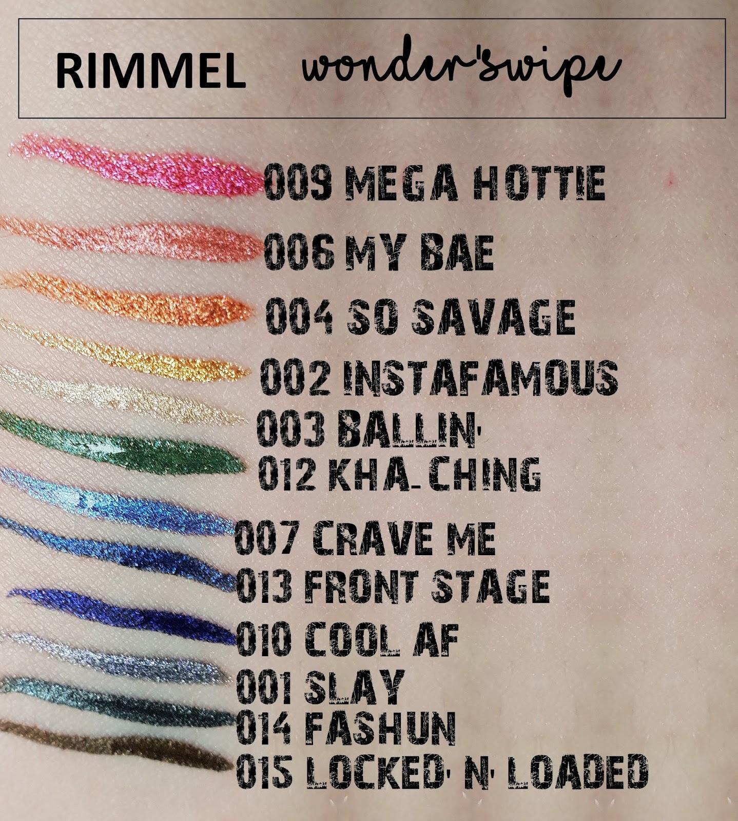 WONDER' SWIPE od marki RIMMEL, metaliczne eyelinery, kolorowe eyelinery, holo kosmetyki, swatche